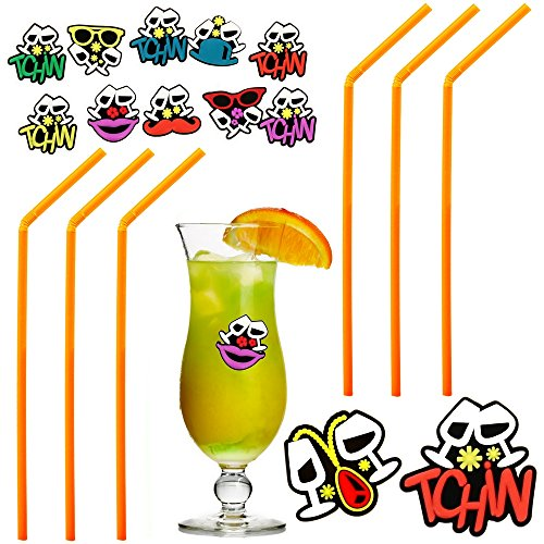 Set Cocktail Fête Apéro Lot 80 Pailles et 12 Marque-Verres Festif Orange