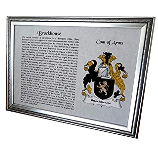 AGS-Designs SURNAME AND COAT OF ARMS - A4 FRAMED - IDEAL GIFT- KEEPSAKE