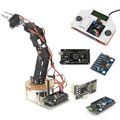 SainSmart DIY 6-Axis Servo Control Robotic Industrieroboter Arm Combo kit with Remote Control Shield Perfect Platform to Build on and to Get Started with Arduino Robotics, Compatible with Uno, Mega2560 R3