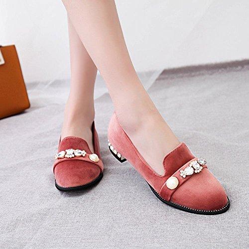 Mee Shoes Damen Niedrig Suede runde Geschlossen Pumps Pink