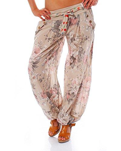 Moda Italy Damen Haremshose Pumphose Ballonhose Pluderhose Yogahose Aladinhose Harem Sommerhose mit Stoffgürtel Flower-Print, One Size Gr.36-42, Beige