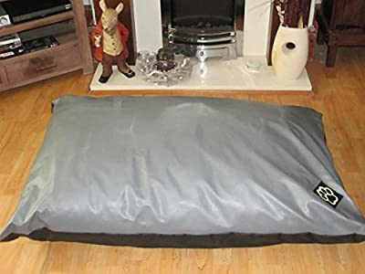 Extra Large Zipped Faux Leather Dog Bed In Grey