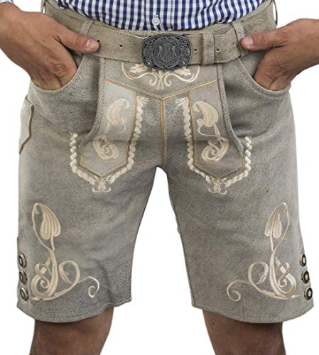 Herren Bergkristall helle/graue Lederhose kurz - inkl. Wappen Trachtengürtel - Trachten Lederhose Vintage mit Gürtel (50, grau)