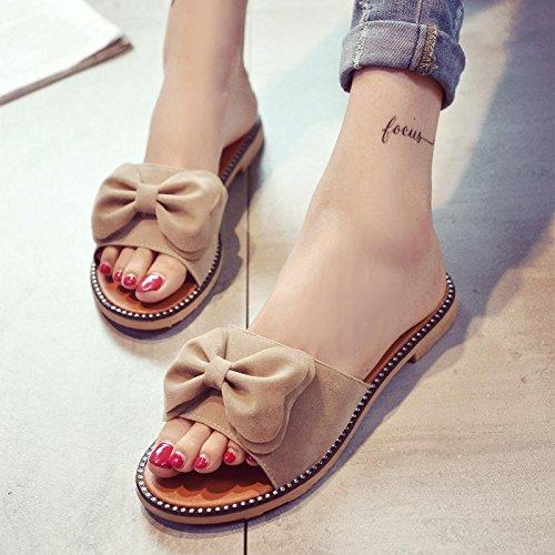 LvYuan Pantofole estive delle donne / modo casuale di modo / Bowknot / piattaforme / sandali / pattini della spiaggia apricot
