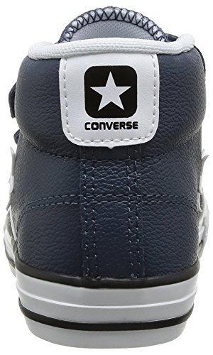 Converse Star Player 3V Leather Mid, Baskets mode mixte enfant Bleu (10 Marine/Blanc)