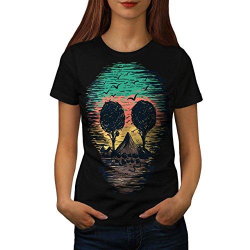 Natur Baum Vögel Schädel Damen S-2XL T-shirt | Wellcoda Black