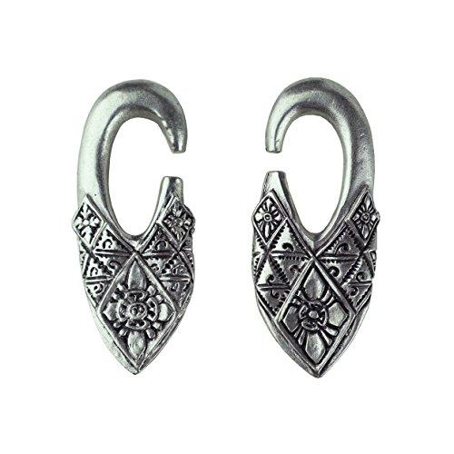 Pesos de oreja de pareja plateados plata para lóbulos estirados - Dos pendientes dilataciones orejas - Earrings Plugs 'BALI'- Modelo original único hecho a mano por artesano italiano - h 6 cm