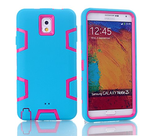 Samsung Galaxy Note 3 N9000 Hülle, Forhouse Ultra Slim [TPU + PC][Dual Layer][Roboter-Muster] Schutzhülle [Anti-Rutsch-] Shock-Absorption-Abdeckung für Samsung Galaxy Note 3 N9000 (Blue + Pink) (Galaxy Note 3 Fall Roboter)