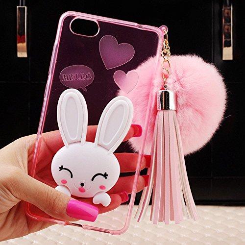 "Sunroyal Dünn Durchsichtig Transparent Silikon Gel Hülle Rückseite Zurück für iPhone 6 Plus iPhone 6S Plus 5.5"" Schutz Tasche Etui Aus TPU Silikon halter falten Diamant Cartoon Rabbit Ear Smile Bunny  Rosa"
