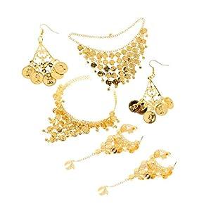 IPOTCH Bauchtanz Schmuck Set Münzkette und Ohrringe Armband Stirnband Bauchtanz Orientalischen Tanz goldfarben