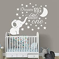 tzxdbh Elephant Nursery Wall Decal Baby Boy Room Decor Dream Big Little One Quote Wall Vinyl Stickers Moon and Stars Decals Kid 71x45cm