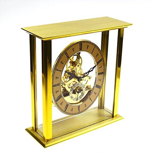 Messing Finish Qualität Skelett Quartz-Skelettuhrwerk Schreibtisch Uhr W2615 - Oak Finish Wall