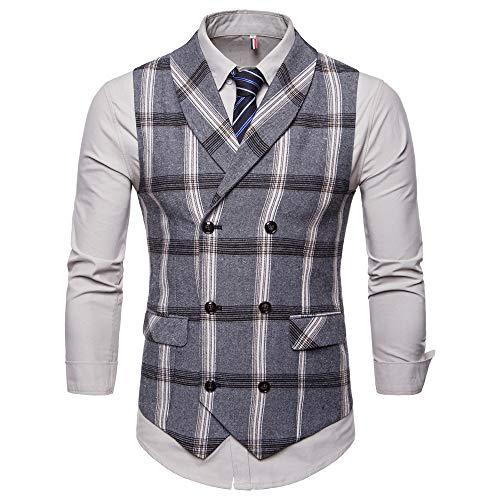 Bmeigo Herren Anzug Weste Slim Fit Business Formal V-Ausschnit Tweed Weste Lässige Vintage Kariert Zweireiher Gilet Top -