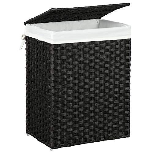 SONGMICS Wäschekorb handgeflochten, Wäschesammler aus synthetischem Rattan, mit Deckel und Griffen, faltbar, Wäschesack herausnehmbar, schwarz LCB51BK