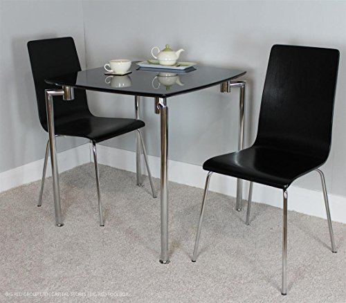 Fiji Small Dining Set Table 2 Chairs Black High