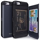 TORU CX PRO iPhone 6S Hülle Kartenfach mit Verstecktes Ausweis-Slot Kreditkartenhalter und Spiegel für iPhone 6S / iPhone 6 - Dunkelblau