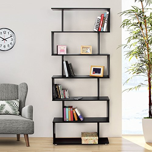 HOMCOM - Libreria di Design in Legno 80x25x192cm Nero