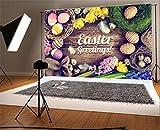 YongFoto 2,2x1,5m Foto Hintergrund Ostern Gruß Painted Eggs Flowers Vogelnest Bag Feather Düsteren Holzbrett Frühling Fotografie Hintergrund fotoshoot Portraitfotos Party Kinder Fotostudio Requisiten