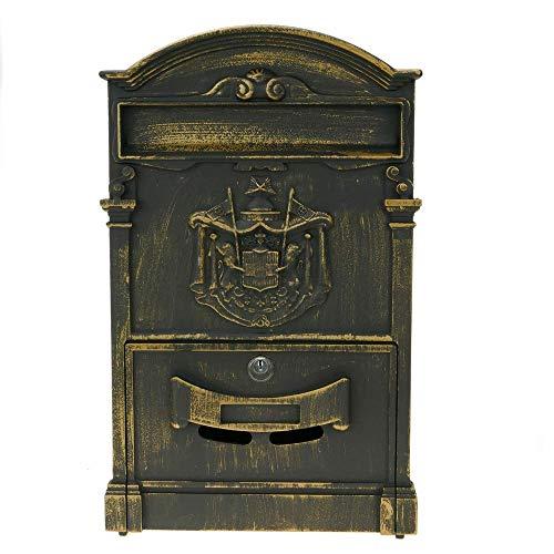 PrimeMatik – Briefkasten Postkasten Retro Antik Vintage metallische Schwarze Oxid für wallmount - 9