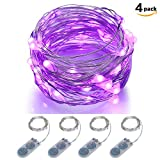 LED Fairy Lights Battery Operated ITART Starry Purple String Lights Silver Wire 20LEDs / 2M for Christmas Bedroom Wedding Party Decorations Lights