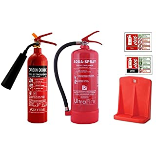 6 Litre Water Additive & 2kg CO2 Fire Extinguisher Bundle Deal - With ID Signs & Double Extinguisher Stand - 5 Year Warranty