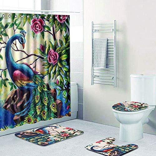 ematte Pfau Muster Bad Sockel Wc Sitz Matte + Deckel + Badematte + Duschvorhang Rutschfeste Innen Teppich Carpet-Vorhang Und Matte ()