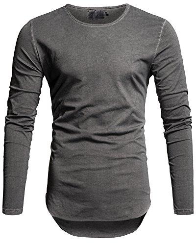 Crone Herren Langarm Shirt Grau Longsleeve Slim Fit T-Shirt Leicht Oversize Sweatshirt mit aufwändiger Öl Waschung (M, Grau)