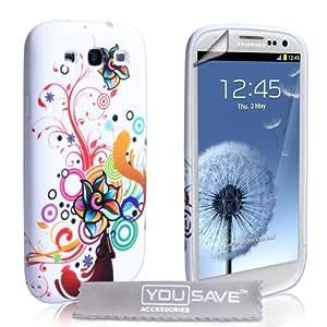 Samsung Galaxy S3 Tasche Silikon Blumen Regenbogen Wirbel Hülle