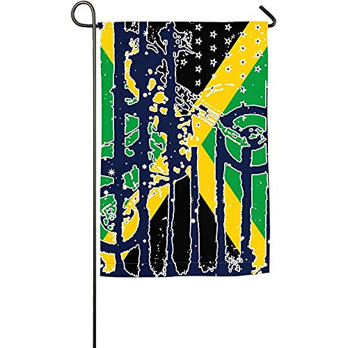 EW-OL Amerikanische Jamaika-Flaggen-Motocross-Garten-Flagge Lustige Garten-Ausgangsflaggen-Frühlings-Sommer-Flagge