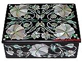 10,2x 7,6x 5,1cm nero marmo intarsio madreperla pietre fiore Art portagioie