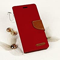 EGO Smartphone case book-style case with a stand function for Samsung Galaxy A5 A510 (2016) Red Flip case magnet case with pockets wallet protection case canvas