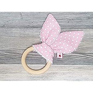 Greifring-Knister-Hasenohren mit Holzring-Spielzeug-Baby