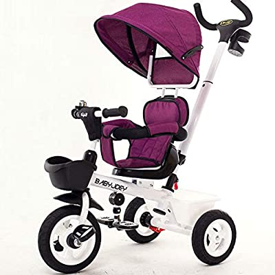 JYY 4 in 1 Tricycle for Kids, Stroller Trike Convertible with Swivel Seat, Full Canopy, Storage Bin,Purple-77 * 50cm