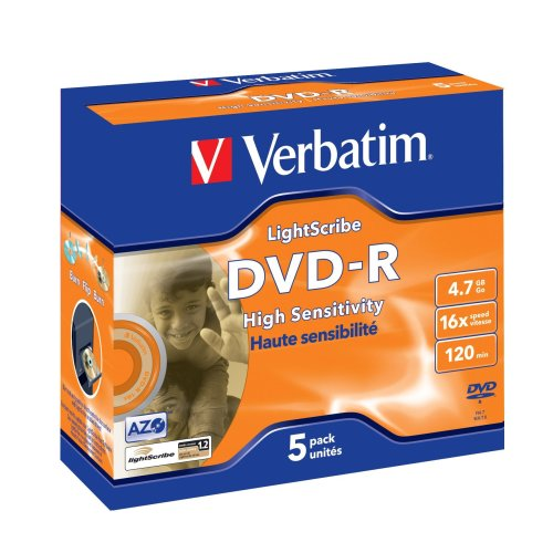 Verbatim DVD-R Rohlinge, 16x, 4.7GB, Advanced AZO+, LightScribe Oberfläche (5er Pack)