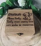 Personalised Engraved Gift Box OHANA MEANS FAMILY LILO AND STITCH QUOTE Disney Jewellery Keepsake Memory Box Birthday Christmas Xmas Gift Handmade Family Present Love Rustic