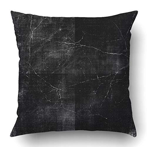 RAINNY Throw Pillow Covers Black Halloween Dark Grunge Ink Scratchy Old Gothic Paint Worn Rough Polyester Square Hidden Zipper Decorative Pillowcase 20x20 inch (Für Halloween Black Body-paint)