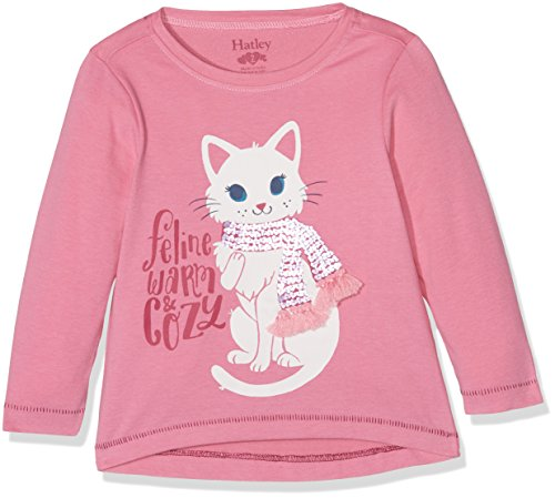 Hatley Mädchen Long Sleeve Graphic Tees Langarmshirt, Pink (Feline Warm & Cozy 650), 7 Jahre -