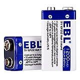 EBL lot de 2 piles lithium 9V non rechargeables grande capacité