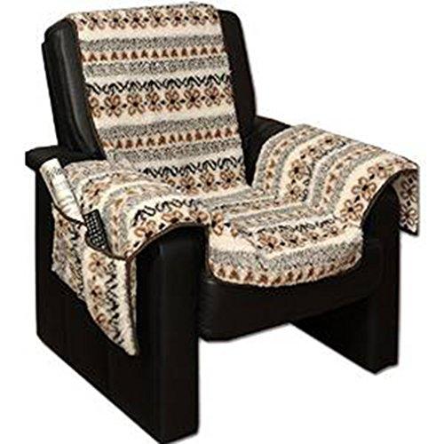 Sesselschoner Sesselüberwurf Sesselauflage Sesselbezug Polster kuschelweich in Lammflor-Optik - mit seitlichen Taschen - Gemustert