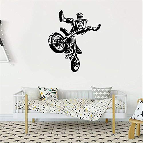 Wandaufkleber Kinderzimmer Motorcross Wheelie Motorrad Sportwand für Schlafzimmer Jungen Bobby Wohnzimmer