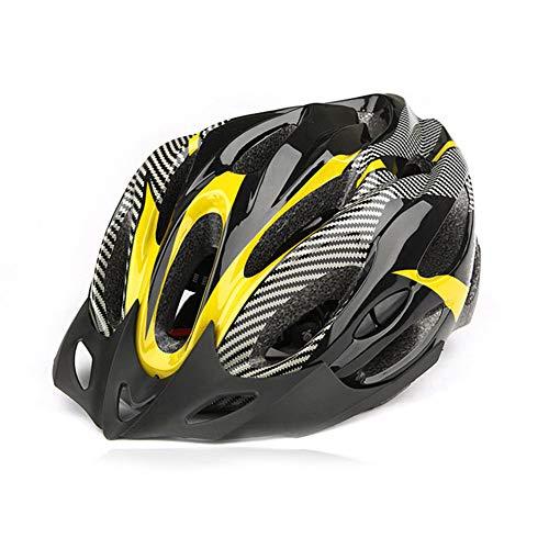 CAheadY Fibra de Carbono de Moda a Prueba de Golpes Casco de Ciclismo de Bicicleta de montaña Ajustable Yellow