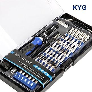 KYG 60 en 1 Destornilladores precisión S2 – Kit de herramientas profesional con 56 puntas magnética para todos tornillos juegos de destornilladores para reparación de smartPhone PC Xbox cámara macboo