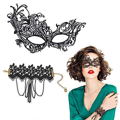 EQLEF® schwarze Spitze Masquerade Augenmaske mit justierbarem schwarzem Spitze-Armband für Halloween Cosplay Kostüm(maske+armband) (Sexy Kostüm Überhaupt)