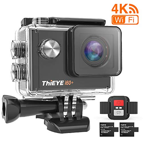 ThiEYE i60+ Action Camera 4K WiFi 20MP 170° Grandangolare 2.0\'\' LCD HD Screen 2.4G Telecamera Videocamera 60M Subacquea Impermeabile con Telecomando Due 1050mAh Batterie e Kit Accessori