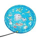 Fcostume 60 Zoll Kinder Outdoor Sommer Spaß Spiel Party Spielzeug Sprinkler Pad Spielmatte Kleinkind Wasserspielzeug für draußen (AS Show)