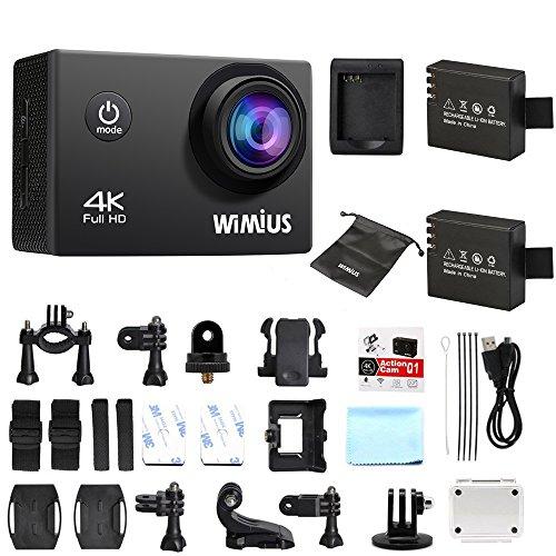 WiMiUS Fotocamera sportiva Q1 4 K 1080p 60fps WiFi Action Camera Video Cam DV alta definizione con 2 batterie, caricatore con supporto e custodia impermeabile inclusi, Colore: nero,