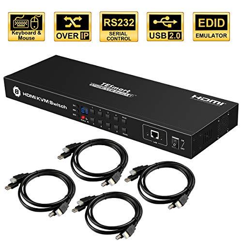 ts Eingänge HDMI KVM Switch, Steuerung von bis zu 8 Computern/Servern, USB 2.0 Gerät, RS232/ LAN Port Control Switch, Rack Mount Switch mit 4 Stück 5ft/1.5m KVM Kabel ()