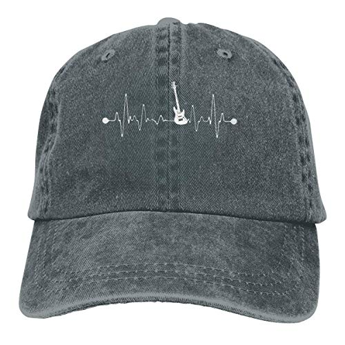 Bass Guitar Heartbeat Musician Retro Adjustable Cowboy Denim Hat Unisex Hip Hop Black Baseball Caps