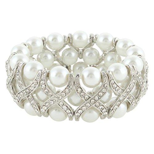 EVER FAITH® Wedding X-forma colore avorio simulato stirata della perla del braccialetto di cristallo austriaco della radura silver-tone