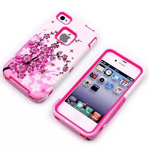 meaci (TM) Téléphone portable Coque pour Apple iPhone 4/4S Motif fleur rose Durable de luxe 3en 1pc & Combo hybride en caoutchouc souple avec motif floral fleurs (V)
